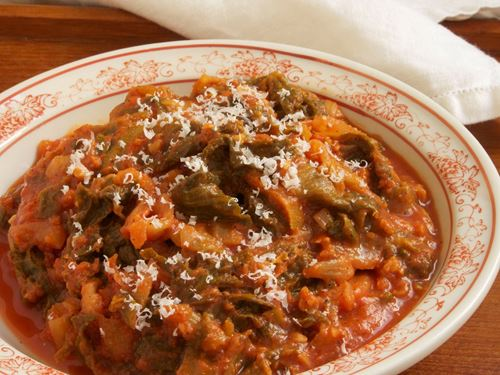 Picture of Escarole in Tomato Brodo with Parmigiano (Vegetarian)
