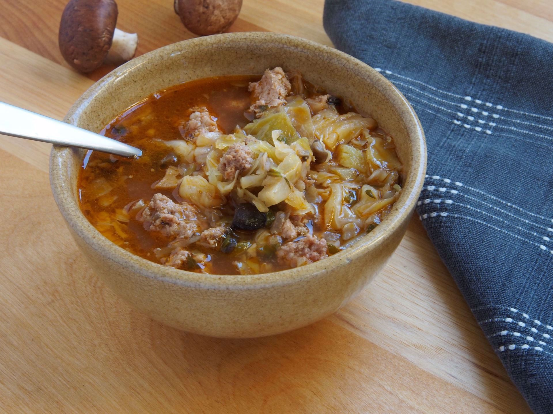 Picture of 22 oz -- Mushroom, Sausage and Cabbage Soup